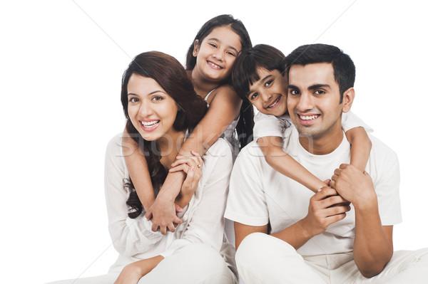 Foto stock: Retrato · familia · feliz · sonriendo · familia · diversión · padre