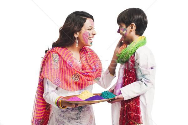 Kadın festival oğul aile eğlence Stok fotoğraf © imagedb