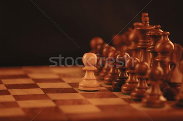 Közelkép sakkfigurák sakktábla sakk csoport minta Stock fotó © imagedb