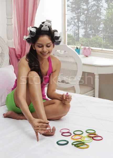 Mulher unha polonês moda beleza quarto Foto stock © imagedb