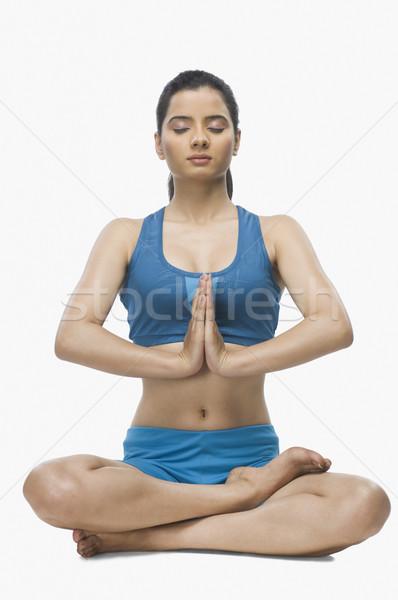 Yoga blanco mujer jóvenes Foto stock © imagedb