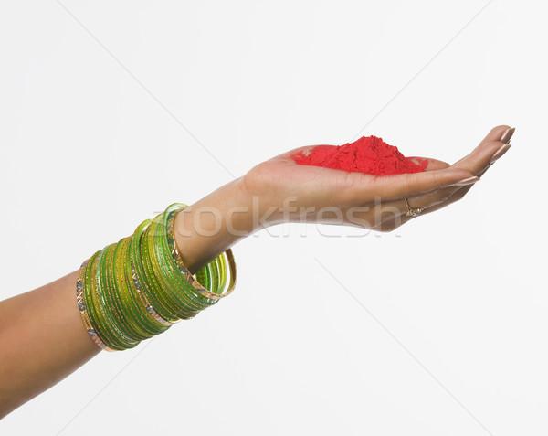 Közelkép kéz tart festék vallás fesztivál Stock fotó © imagedb