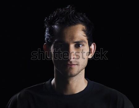 Portre adam tişört fotoğrafçılık bir yatay Stok fotoğraf © imagedb