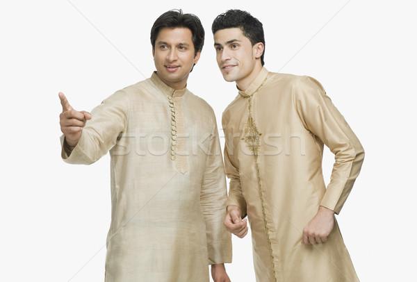 男 話し 友達 ポインティング 指 笑みを浮かべて ストックフォト © imagedb