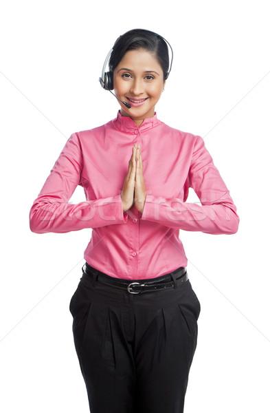 Stok fotoğraf: Portre · kadın · müşteri · hizmetleri · temsilci · tebrik