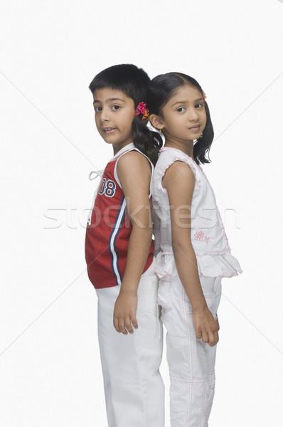 Portré kettő gyerekek áll hát haj Stock fotó © imagedb