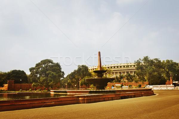 Szökőkút kormány épület Új-Delhi India fa Stock fotó © imagedb