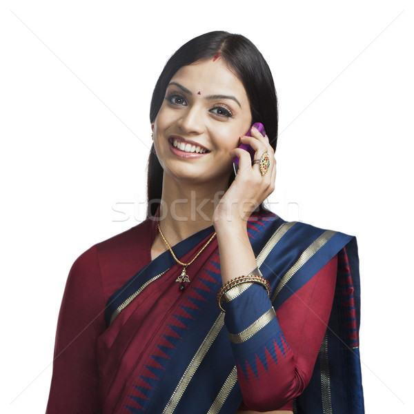 Tradicionalmente indiano mulher falante celular tecnologia Foto stock © imagedb