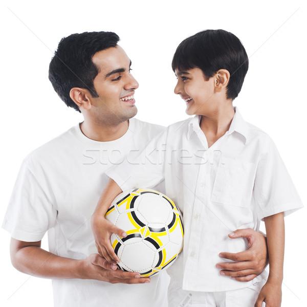 Heureux père en fils football famille amusement père Photo stock © imagedb