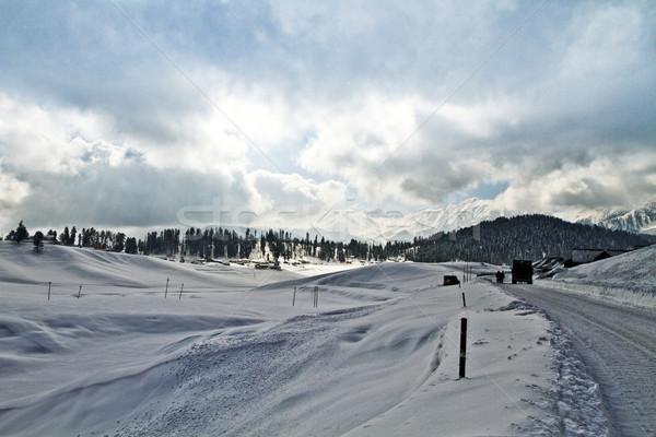 Felhők hó fedett tájkép természet hegy Stock fotó © imagedb