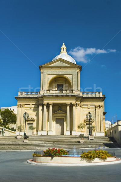 Kerk Malta hemel water Blauw Stockfoto © imagedb