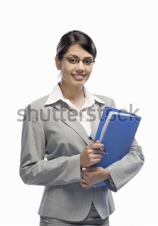 Retrato empresária arquivo em pé branco Foto stock © imagedb