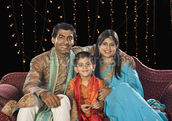 семьи сидят диване Дивали фестиваля Сток-фото © imagedb