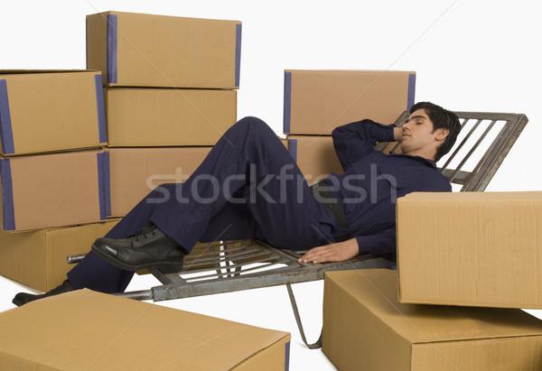 Depolamak uyku el kamyon depo adam Stok fotoğraf © imagedb