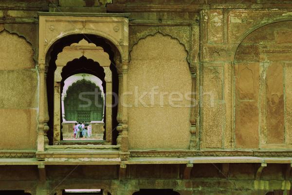 Toeristen fort Rood Delhi Indië muur Stockfoto © imagedb