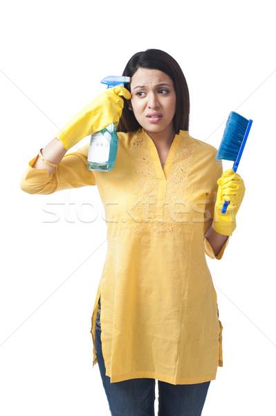 Mujer disparo cabeza aerosol botella estrés Foto stock © imagedb