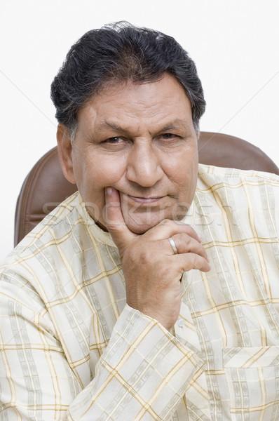 Retrato homem pensando cadeira senior sessão Foto stock © imagedb