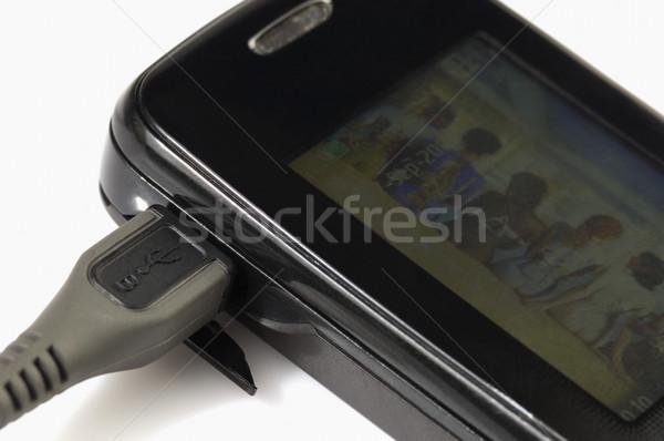 Usb kábel mobiltelefon telefon kommunikáció fekete Stock fotó © imagedb