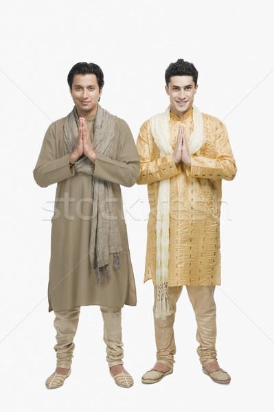 二人の男性 祈り 位置 笑顔 肖像 立って ストックフォト © imagedb
