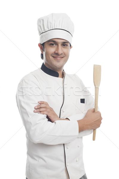 Portrait Homme chef spatule souriant Photo stock © imagedb