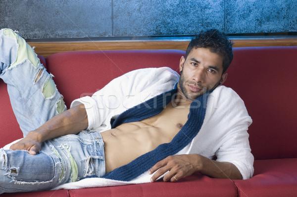 Retrato macho homem saúde relaxar músculo Foto stock © imagedb