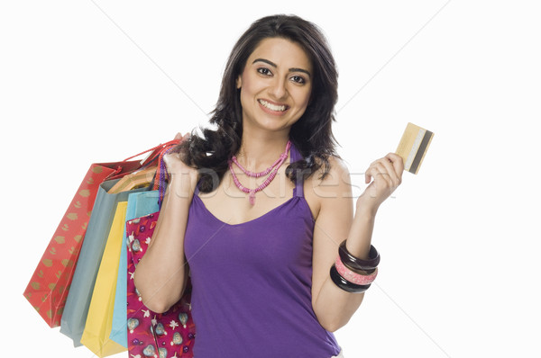 портрет женщину кредитных карт Сток-фото © imagedb