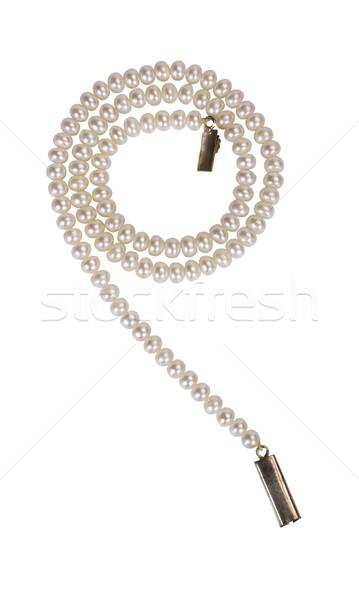 Közelkép gyöngy nyaklánc divat luxus spirál Stock fotó © imagedb