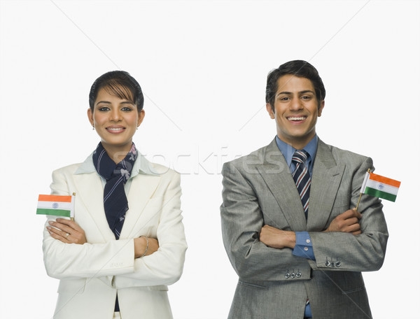 Iş Hint bayraklar kadın Stok fotoğraf © imagedb