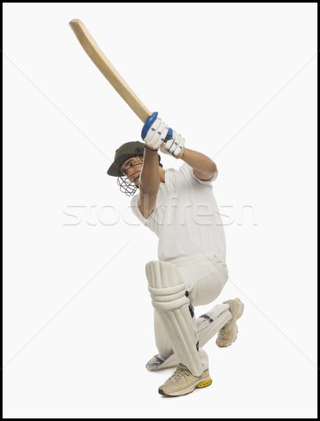 Cricket spelen dekken drive man sport Stockfoto © imagedb