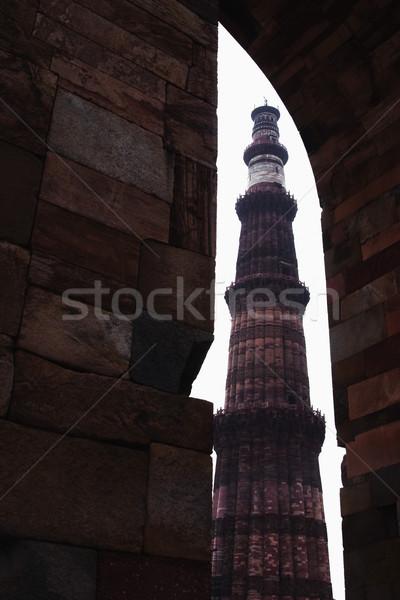 Alulról fotózva kilátás minaret Delhi India fal Stock fotó © imagedb