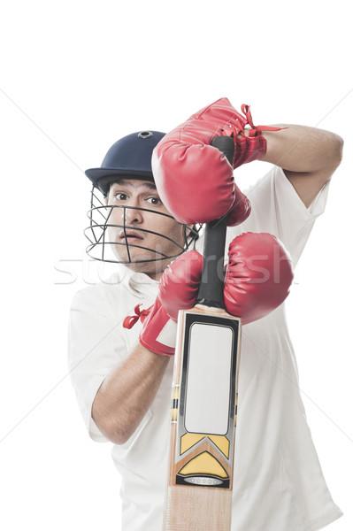 Játszik krikett férfi sport fiatal áll Stock fotó © imagedb