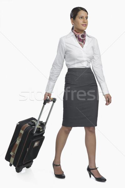 Luft Gastgeberin tragen Gepäck glücklich Fuß Stock foto © imagedb