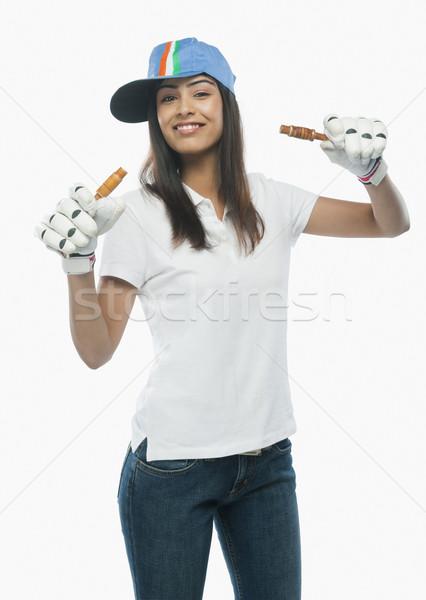 Ritratto femminile cricket fan donna Foto d'archivio © imagedb