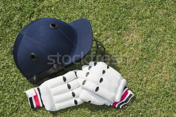Krikett sisak kesztyű mező sport árnyék Stock fotó © imagedb