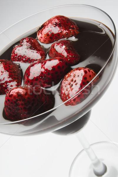 Fragole sciroppo di cioccolato vetro colazione dessert pasto Foto d'archivio © imagedb