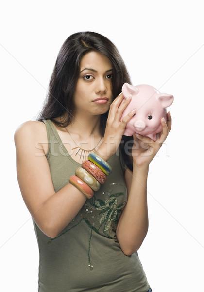Portre genç kadın endişeli kumbara kadın güzellik Stok fotoğraf © imagedb