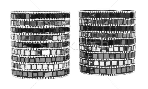 Primo piano due candeliere vetro pattern moderno Foto d'archivio © imagedb