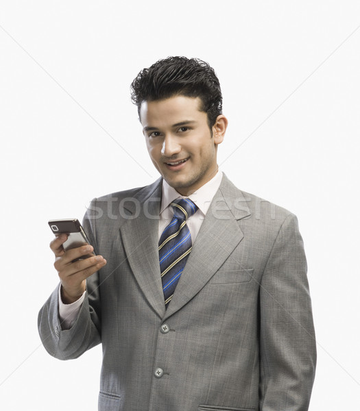 Portret zakenman mobiele telefoon business geluk verbinding Stockfoto © imagedb