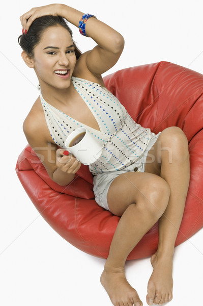 ストックフォト: 女性 · 座って · カップ · コーヒー · 笑顔