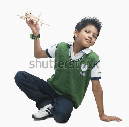 Portrait garçon jouer jouet avion mode Photo stock © imagedb