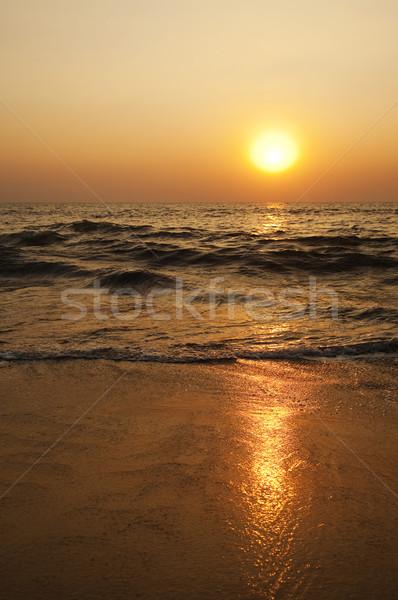 Сток-фото: волны · пляж · закат · Гоа · Индия · воды