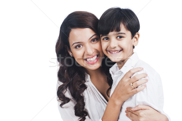 Portre mutlu anne oğul aile gülen Stok fotoğraf © imagedb