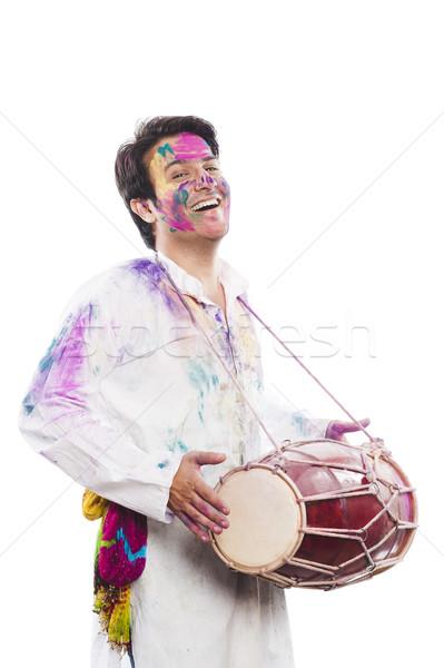 Adam oynama müzik boya eğlence Stok fotoğraf © imagedb
