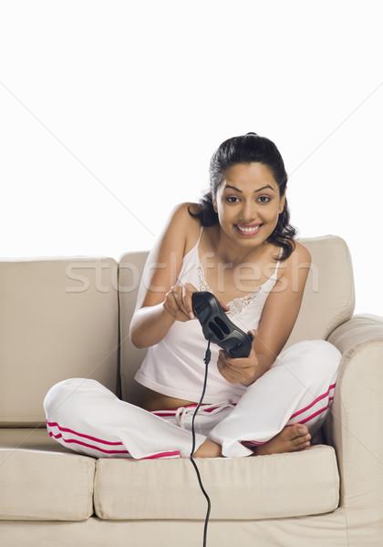 портрет играет видеоигра женщину весело Сток-фото © imagedb