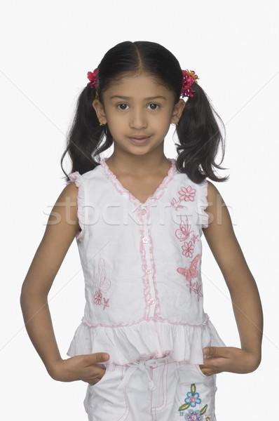 Portre kız eller arka plan siyah beyaz Stok fotoğraf © imagedb