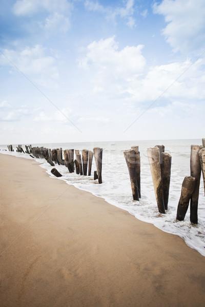 Ahşap plaj Hindistan gökyüzü ahşap deniz Stok fotoğraf © imagedb