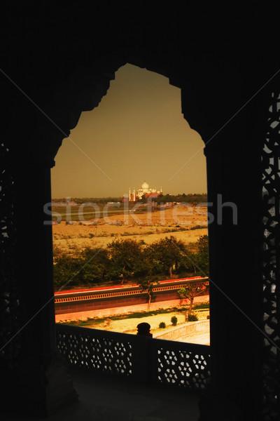 Stok fotoğraf: Mozole · balkon · kale · Tac · Mahal · duvar · pencere