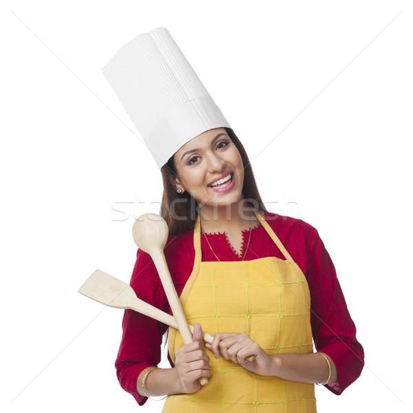 Portret szczęśliwy kobieta chochla Zdjęcia stock © imagedb