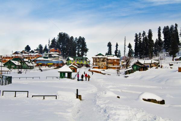 Hó fedett turistaövezet India természet tél Stock fotó © imagedb