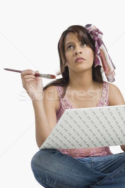 женщину Живопись фотография мышления моде рабочих Сток-фото © imagedb